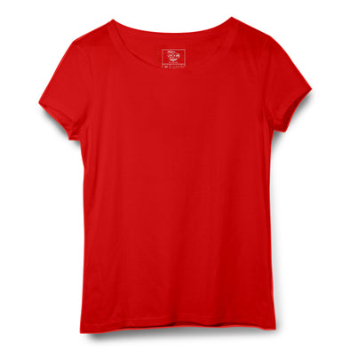 Red Women Round Neck T-shirt