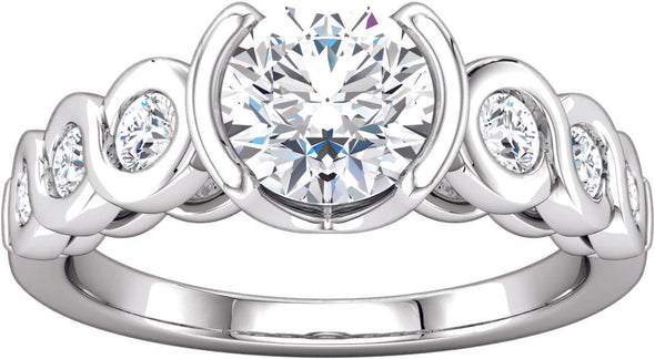 Diamond-Accented Open Bezel Engagement Ring