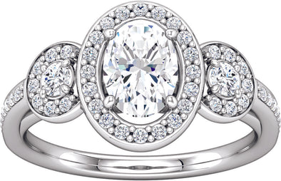 Three-Stone Halo (Round-Shape Accent) Engagement Ring