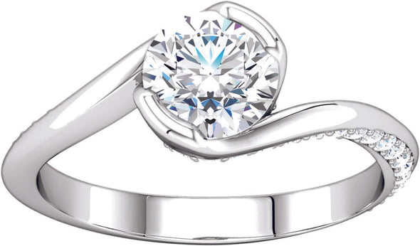 Diamond-Accented Bypass Engagement Ring