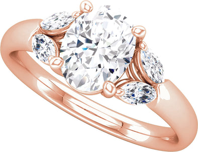 Three-Stone (Double Marquise-Shape Accent) Ring