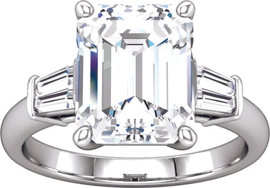 Three-Stone (Double Baguette Accent) Engagement Ring