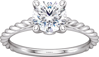 Solitaire (4-prong w/ Hidden Side Diamond) Rope Band Engagement Ring