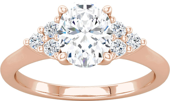 Diamond-Accented Three Side Stone Engagement Ring