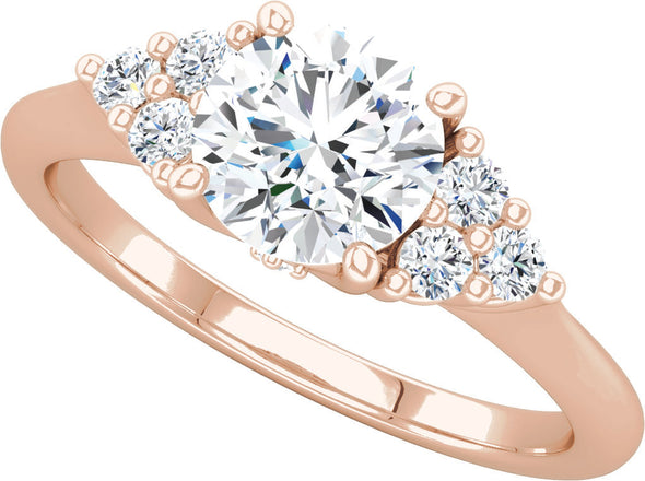 Diamond-Accented Three Side Stone Ring