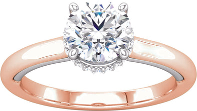 Solitaire (4-prong w/ Hidden Halo) Two-toned Engagement Ring