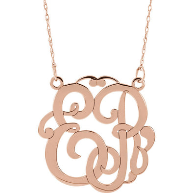 2 -Letter Script Monogram Necklace - Medium