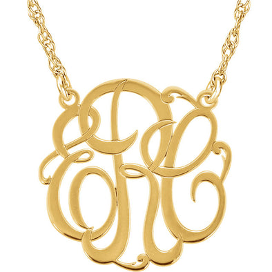 3-Letter Script Monogram Necklace - Medium