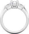 Three-Stone (Single Baguette Accent) Engagement Ring