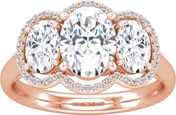 Three-Stone Halo (Oval-Shape Accent) Engagement Ring