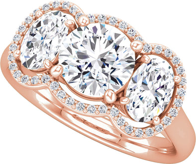 Three-Stone Halo (Oval-Shape Accent) Ring