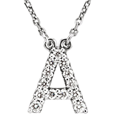 14K Full Diamond Initial Necklace - A