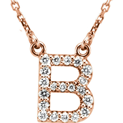 14K Full Diamond Initial Necklace - B