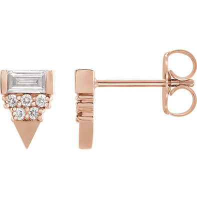 1/4 CTW Triangle Geometric Diamond Earrings