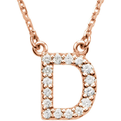 14K Full Diamond Initial Necklace - D