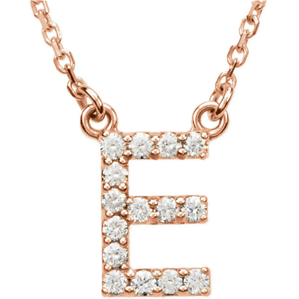 14K Full Diamond Initial Necklace - E