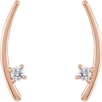 14K 1/8 CTW Diamond Ear Climbers