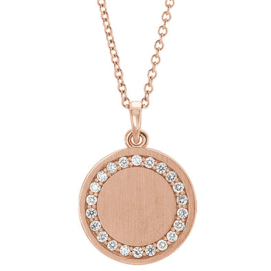 Diamond Engravable Round Necklace