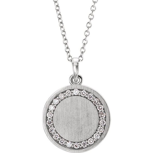 Engravable Round Diamond Necklace