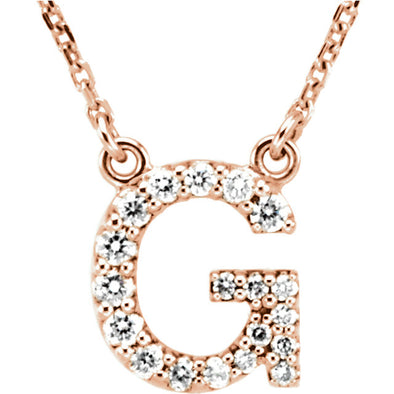 14K Full Diamond Initial Necklace - G