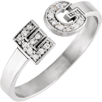 Diamond Double Initial Ring