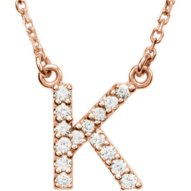 14K Full-Diamond Initial Necklace