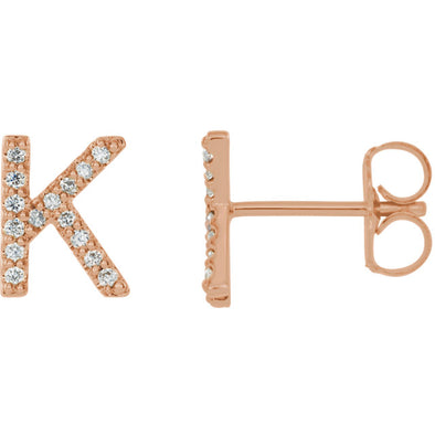 Large Diamond Initial Stud Earring (single)
