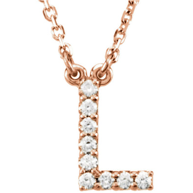 14K Full Diamond Initial Necklace - L