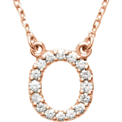14K Full Diamond Initial Necklace - O