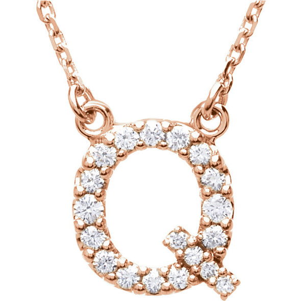 14K Full Diamond Initial Necklace - Q