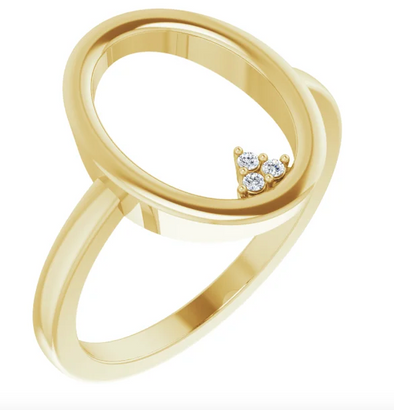 14K Yellow .01 CTW Diamond Open Circle Cluster Ring