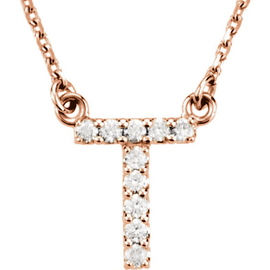 14K Full Diamond Initial Necklace - T