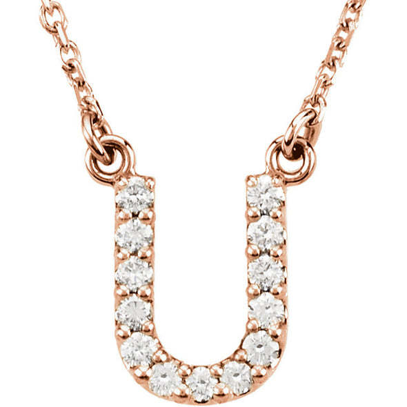 14K Full Diamond Initial Necklace - U