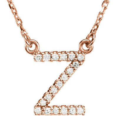 14K Full Diamond Initial Necklace - Z