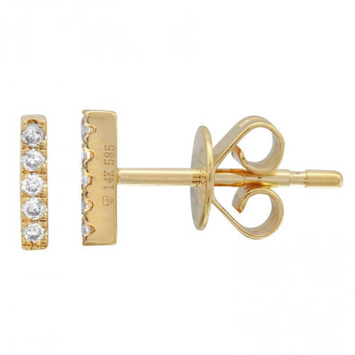 Gold Diamond-Bar Earrings