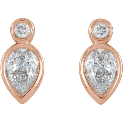 14K 1/3 CTW Diamond Bezel-Set Stud Earrings