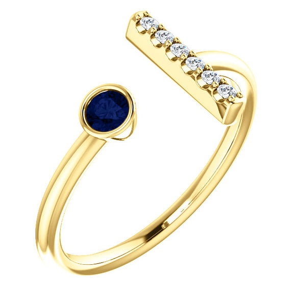 14K Yellow 1/6 CTW and Gemstone Bar Ring