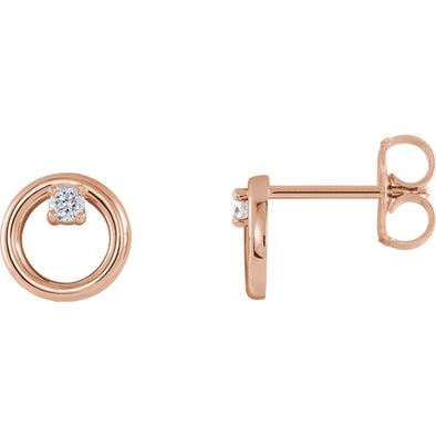 14K .06 CTW Diamond Circle Earrings
