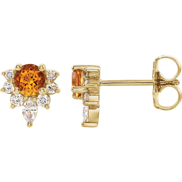 14K Gemstone & 1/6 CTW Diamond Burst Stud Earrings