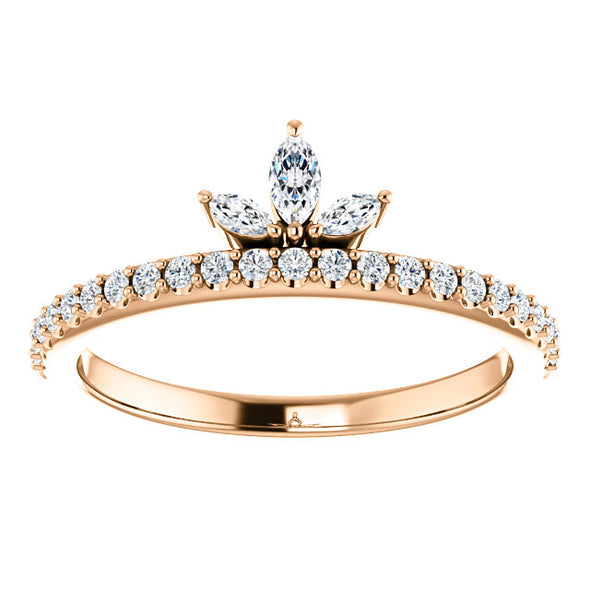 14K 1/3 CTW Diamond Stackable Crown Ring
