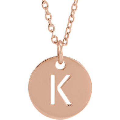 Cutout Circle Initial Necklace