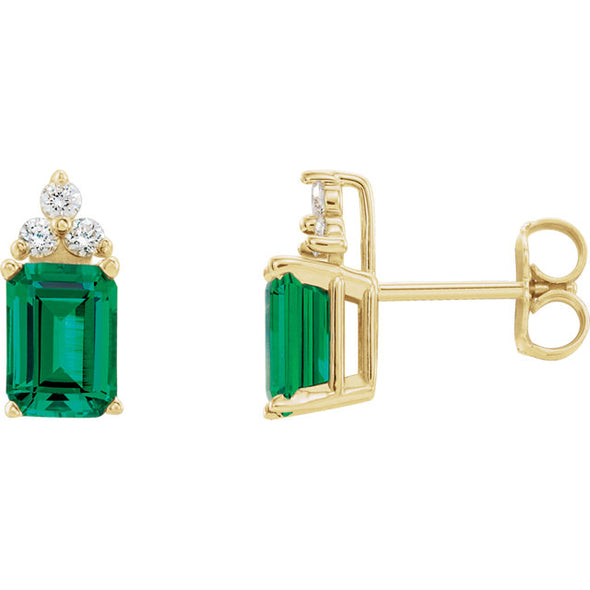 Emerald Cut Gemstone and Diamond Earrings