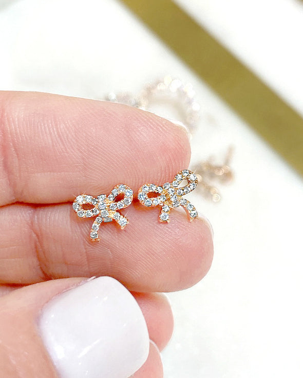 1/4 CTW Diamond Bow Earrings