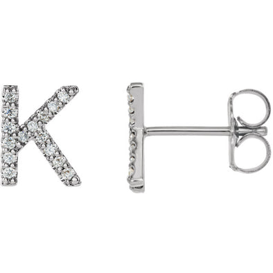 Initial Stud Diamond Earrings (Pair)