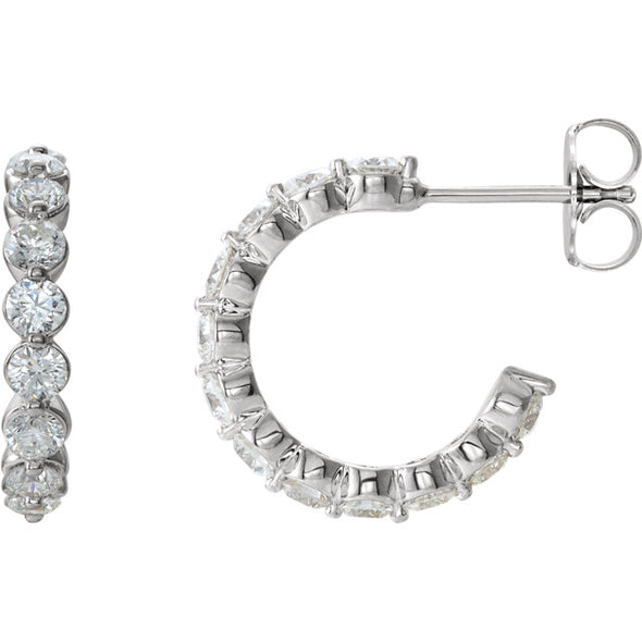 14K White 1 3/8 CTW Diamond J-Hoop Earrings