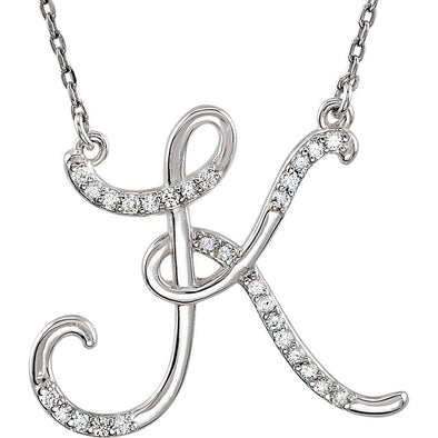 Large Diamond Script Initial Necklace