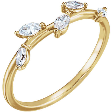 14K Yellow 1/3 CTW Diamond Leaf Ring