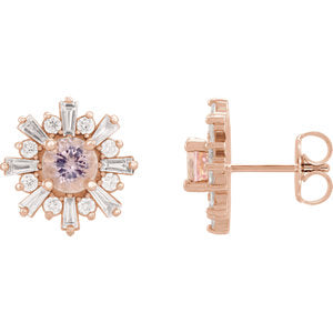 14K Gemstone & 3/4 CTW Diamond Stud Earrings