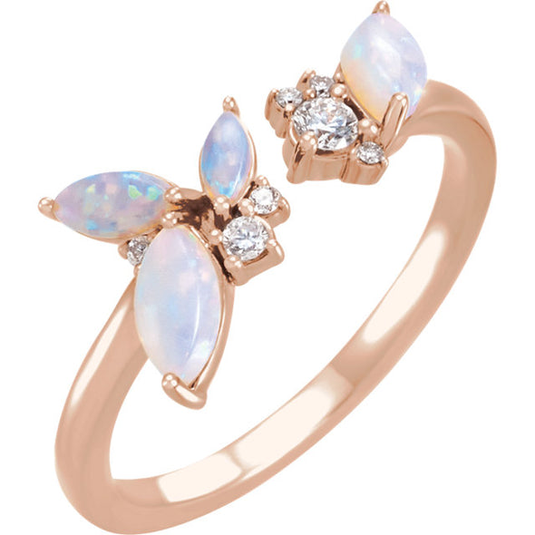 14K Australian Opal & 1/10 CTW Diamond Negative Space Ring