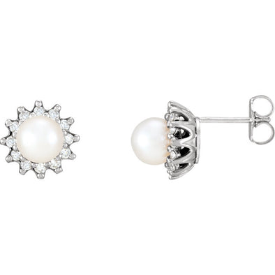 14K Akoya Cultured Pearl & 1/3 CTW Diamond Earrings